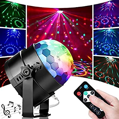 Disco Lights, Sound Activated Disco Ball Party Lights 7 Colors LED Strobe Lights Stage DJ Light with Remote Control for Home Dance Birthday Party Karaoke Bar Club Wedding Festival (2 Pack) from Macrourt