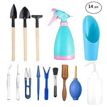 Juego de 14 herramientas para plantas suculentas, PATHONOR Mini herramientas de mano de jardín miniatura hada ...
