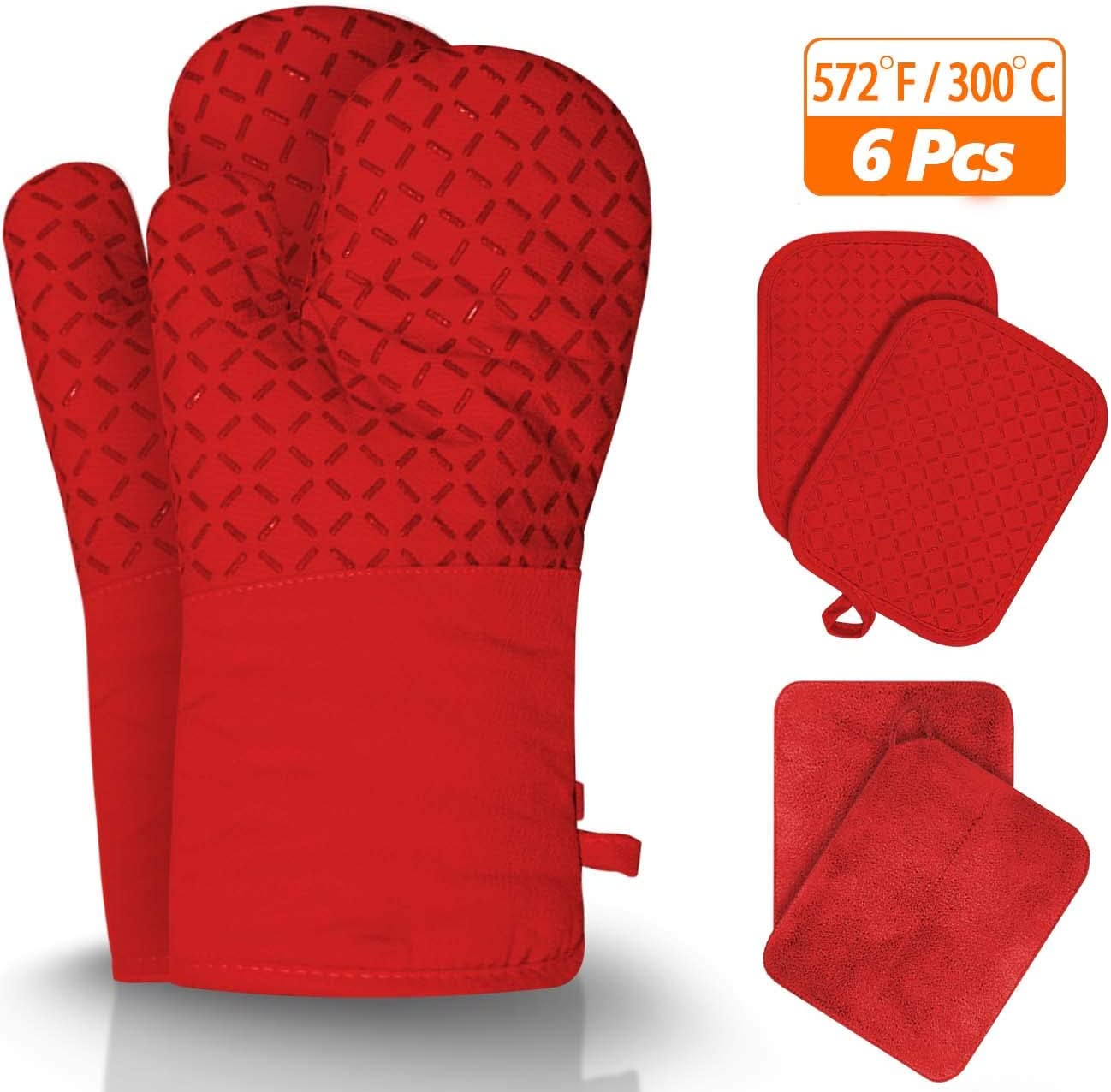 Jusen Oven Mitts and Pot Holder,6-Piece Kitchen Oven Glove,500 Degree high Temperature Resistant Super Long Oven Glove and Pot Holder,Non-Slip Silicone Surface,Used for Grilling,Baking,Oven (Red)