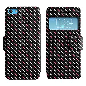 AADes Scratchproof PU Leather Flip Stand Case Apple iPhone 5C ( Mustache Pattern )