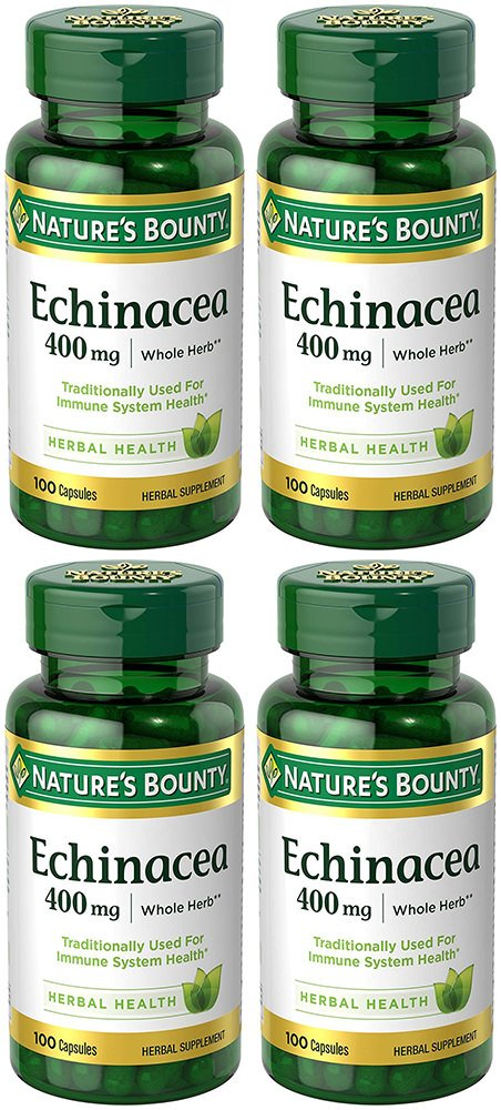 Echinacea 400 mg Natural, 4 Bottles (100 Count)