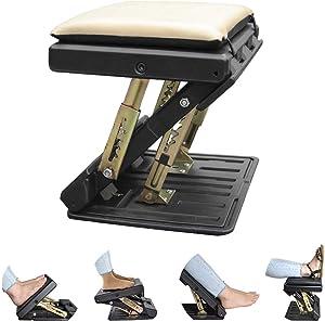 Ergonomic Footrest, Upgrade Adjustable Footrest Max-Load 180Lbs with Removable Soft Foot Rest Pad Under Desk Footrest for Car, Home, Train, 4-Level Height Adjustment (Beige)