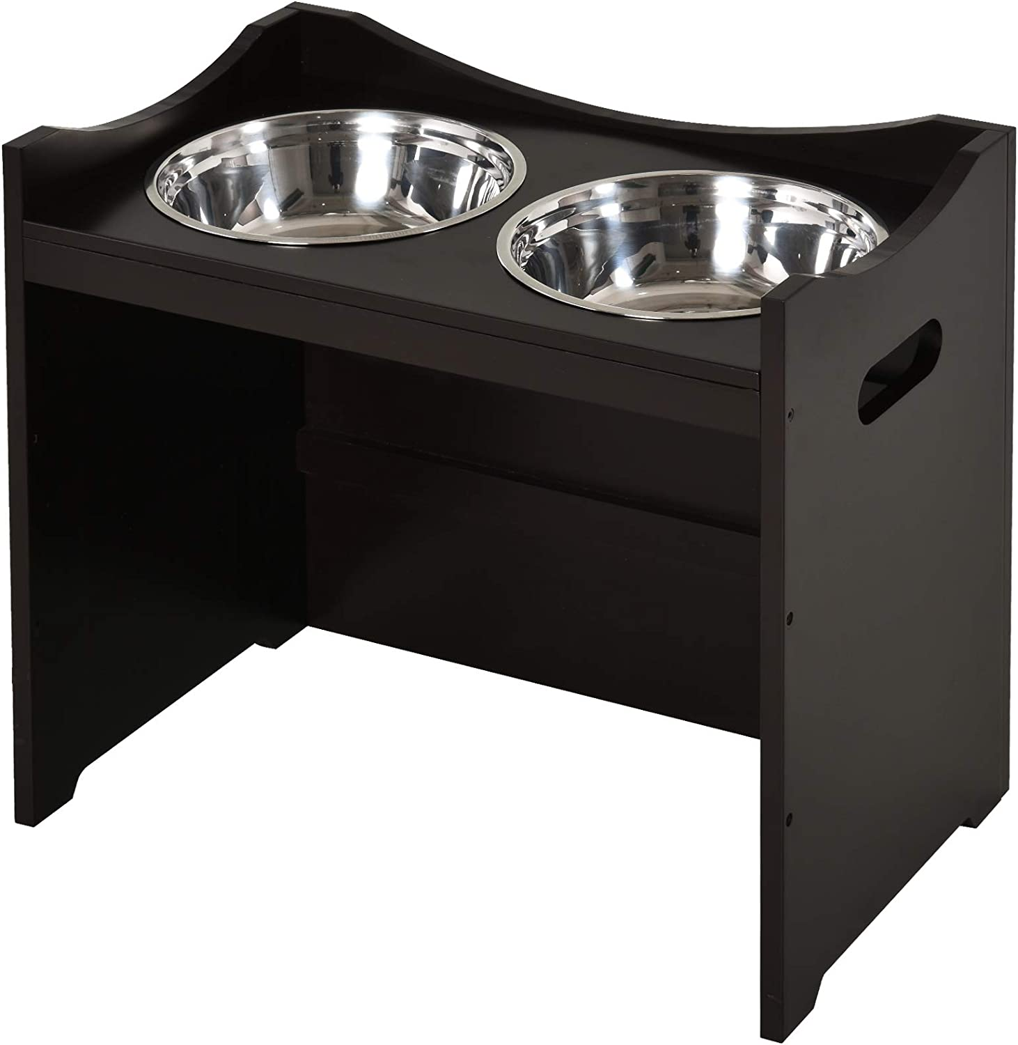 PawHut Raised Pet Food Elevated Feeder with 2 Stainless Steel Bowls, 3 Levels Adjustable Height Levels, and Wood Finish