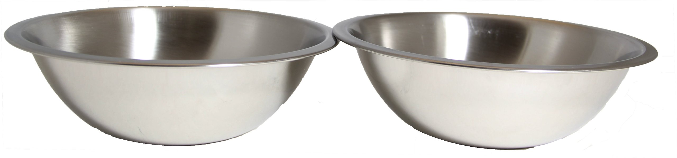 SET OF 2 - 10 Inch Wide Stainless Steel Flat Rim Flat Base Mixing Bowl