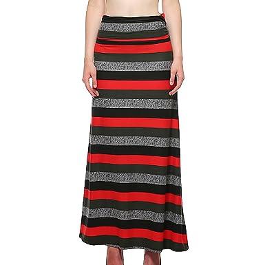 67bc45d880f3 Sun Kea Women's Fold Over Maxi Skirt Regular Size Plus Size Skirt High  Waist Floor Length