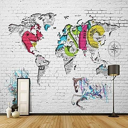 Wapel 3d modern mural wallpaper world map brick background wall wapel 3d modern mural wallpaper world map brick background wall paper for baby room nordic graffiti gumiabroncs Gallery