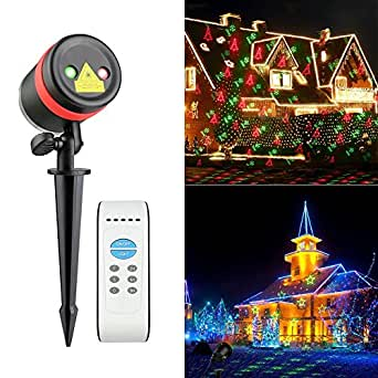 Laser Halloween Christmas Lights Red and Green Moving Laser with 8 Kinds of Patterns Waterproof and Outdoor / Indoor Rotating Light Projector Spotlight for Halloween, Christmas and Garden Decoration