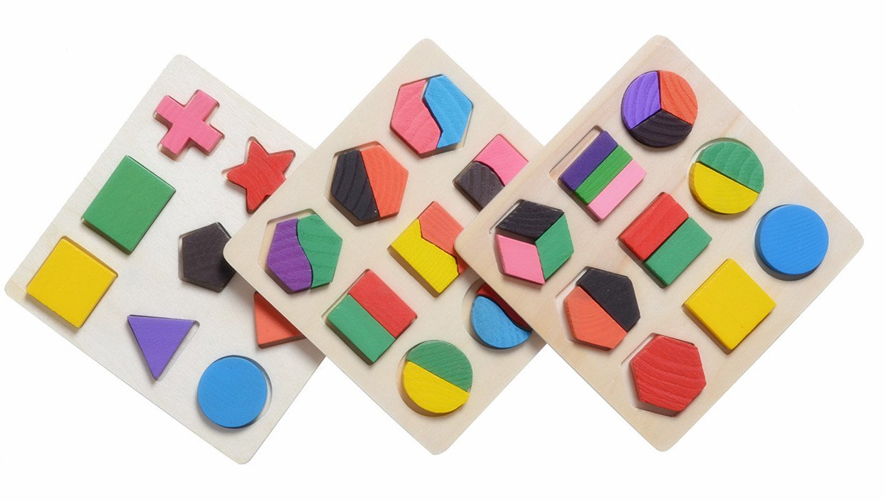 XADP Wooden Preschool Shape Puzzle Geometric Chunky Puzzles Early Development Educational Block Sorter,Set of 3