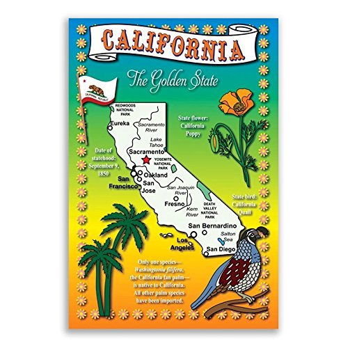 CALIFORNIA STATE MAP postcard set of 20 identical postcards. Post cards with CA map and state symbols. Made in ()