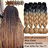 MYCHANSON 5pcs Afro Jumbo Braiding Hair Extensions Kanekalon Synthetic Twist Hair Two Tone