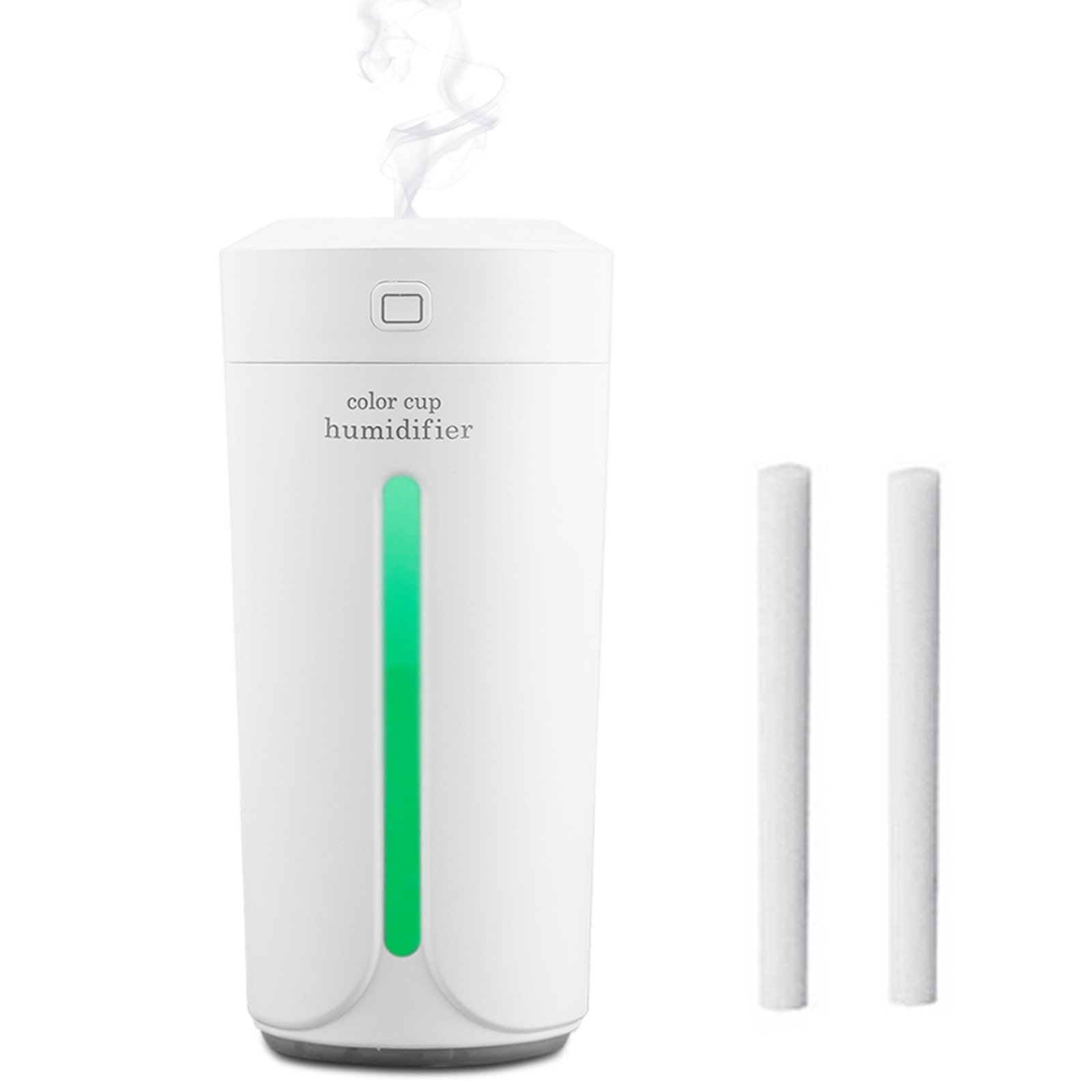 ONUEMP Cool Mist Humidifier, USB Desk Air Purifier Cup Humidifier Comes with 2 Filters Sponges, Personal Car Humidifier with 7 Color Night Lights for Pets, Smoke, Mold, Completely Mute