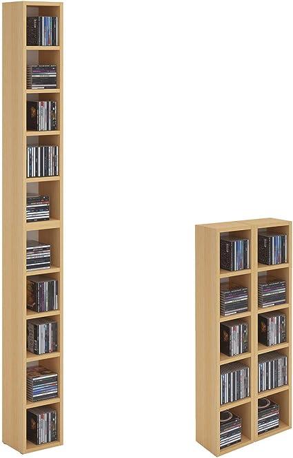 CARO-Möbel Carolina de Muebles CD DVD Estantería Soporte Chart, en Haya con 10 Compartimentos para Guardar hasta 160 CD, 20 x 186,5 cm (Ancho x ...
