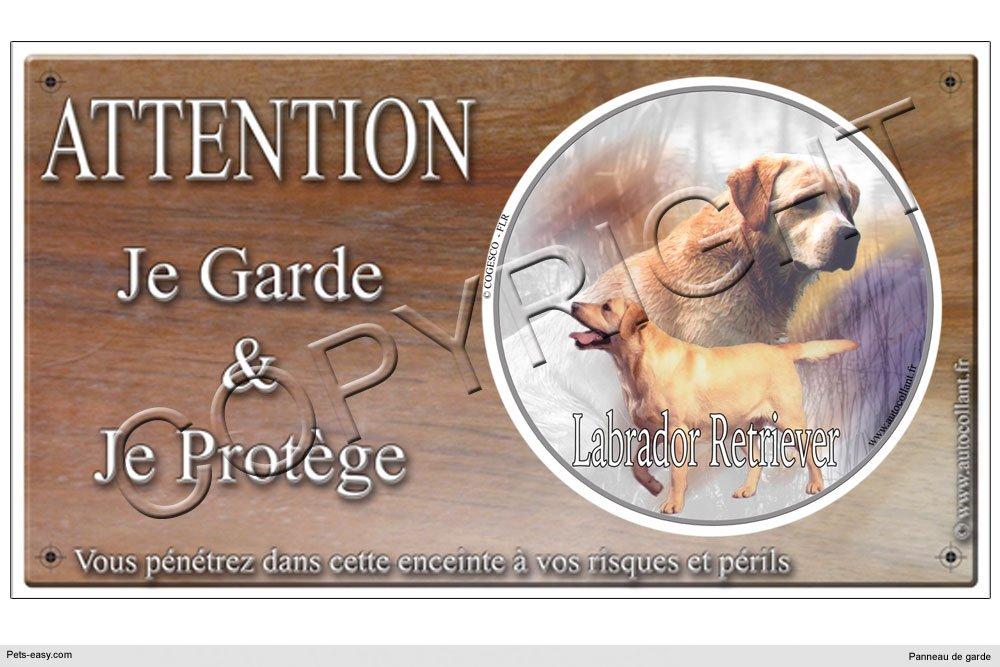 Panneau chien ou plaque Labrador-Retriever-Sable 20 cm COGESCO sarl