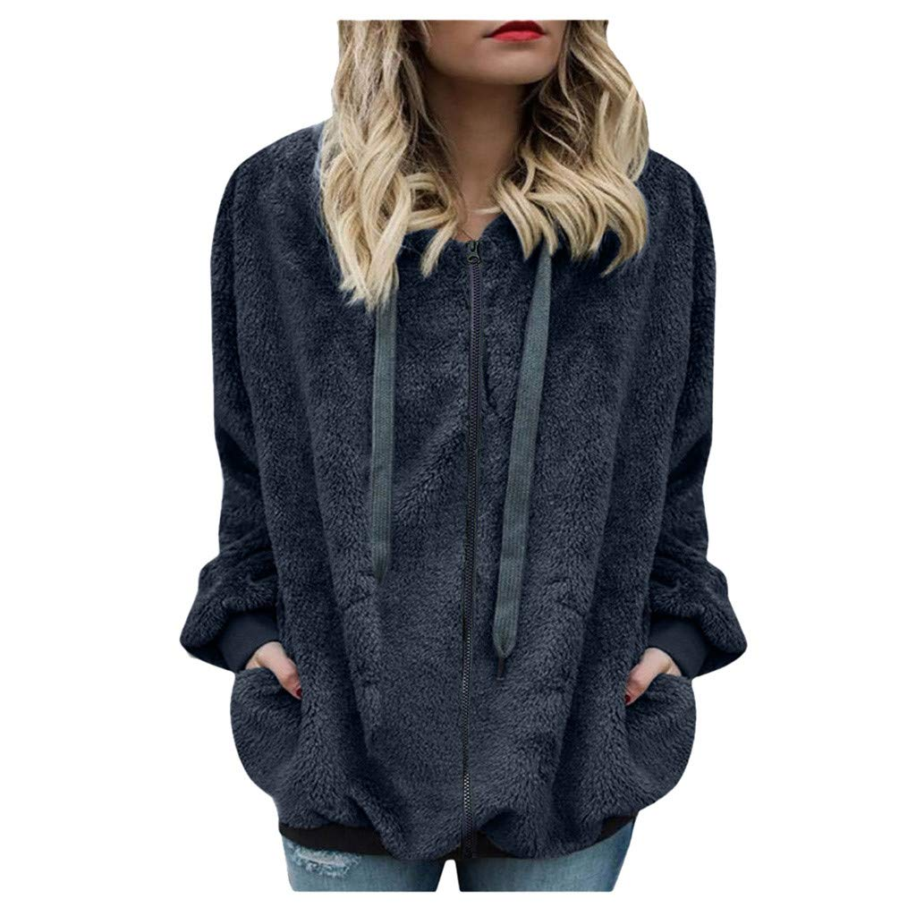 Shusuen Winter 2019 Fashion Womens Fuzzy Casual Loose Sweatshirt Hooded with Pockets Outwear Dark Gray by Shusuen