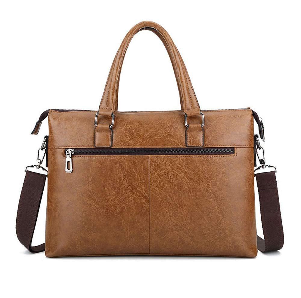 Color : Brown WUI Handbag Mens Briefcase Business Bag Shoulder Diagonal Bag