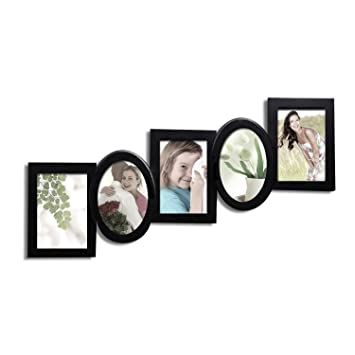 Amazon.com: Adeco PF0218 Black Wood Cascading, Hanging Picture Frame ...