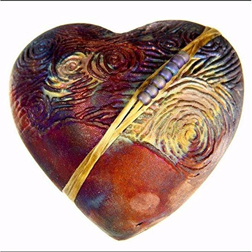Raku Heart Rattle Starry Night