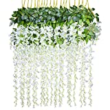 Lvydec Artificial Wisteria Vine, 12 Pack 3.6 Feet/Piece Silk Wisteria Artificial Flower White Hanging Garland for Home Party Wedding Decoration