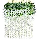 Lvydec Artificial Wisteria Vine, 12 Pack 3.6 Feet/Piece Silk Wisteria Artificial Flower White Hanging Garland for Home Party Wedding Decoration