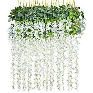 Lvydec Artificial Wisteria Vine, 12 Pack 3.6 Feet/Piece Silk Wisteria Artificial Flower White Hanging Garland for Home Party Wedding Decoration 25