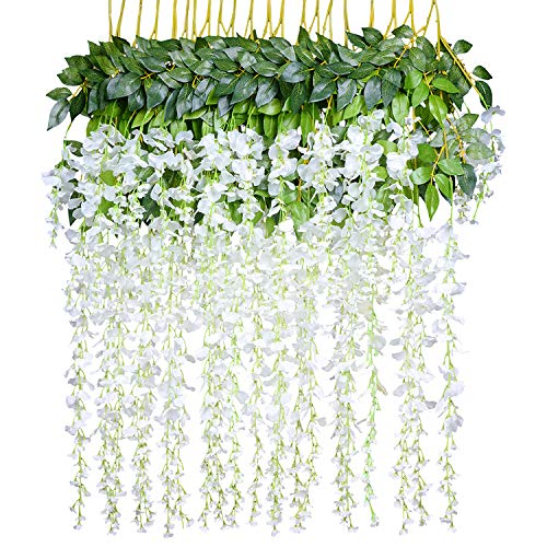 (Lvydec Artificial Wisteria Vine, 12 Pack 3.6 Feet/Piece Silk Wisteria Artificial Flower White Hanging Garland for Home Party Wedding Decoration)
