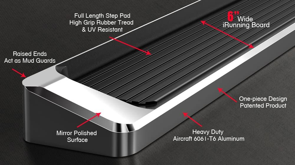 APS Premium 6in iBoard Running Boards Custom Fit 15-20 Chevy Colorado GMC Canyon Crew Cab