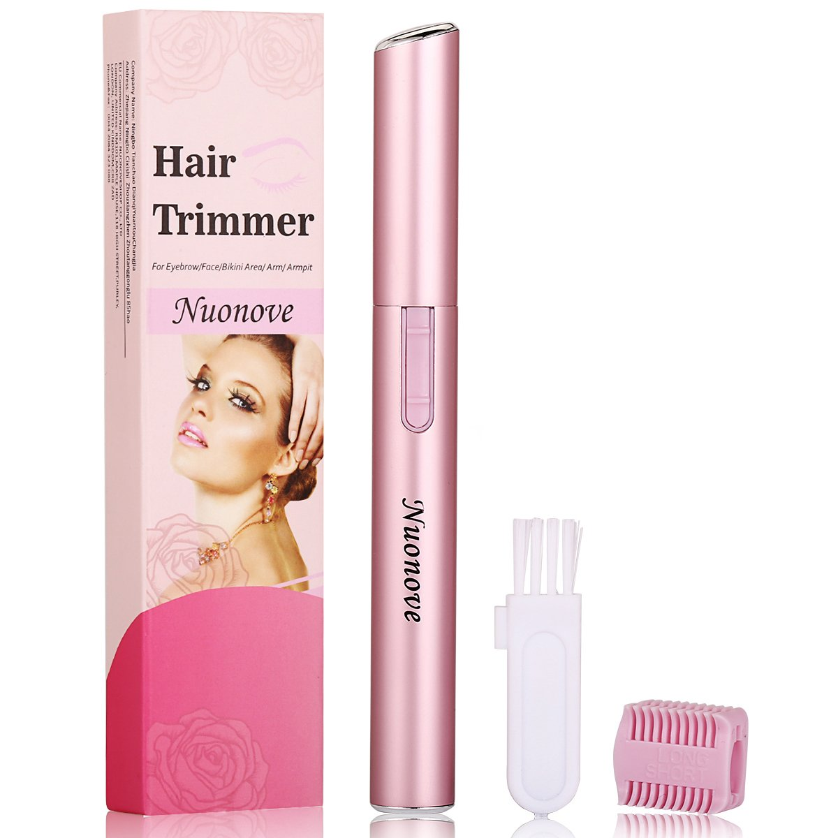Eyebrow Trimmer Eyebrow Hair Trimmer, Eyebrow Trimmer for Women, Electric Eyebrow Trimmer Eyebrow Trimmer Scissors, Portable Electric Ladies' Eyebrow Shaper (Pink) Nuonove
