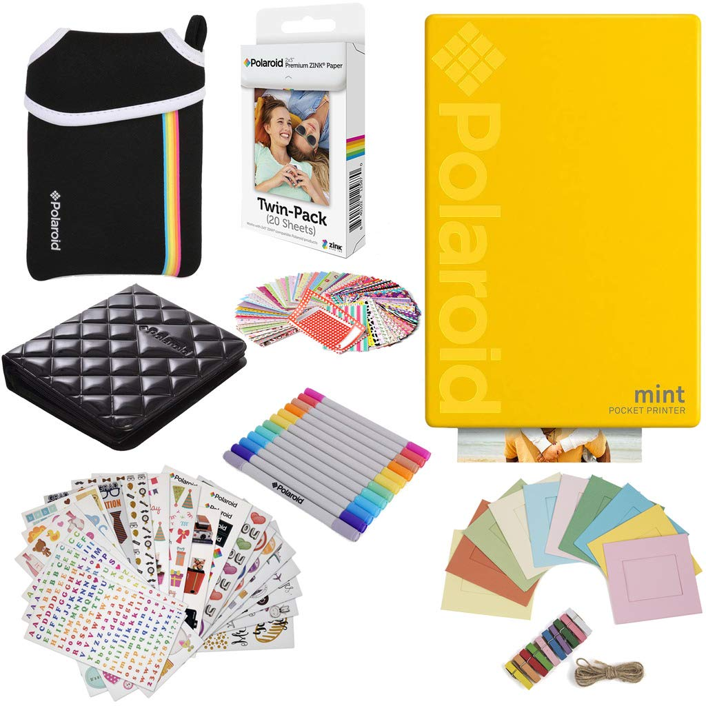 Polaroid Mint Pocket Instant Printer (Yellow) Gift Bundle + Paper (20 Sheets) + Deluxe Pouch + 9 Fun Sticker Sets + Twin Tip Markers + Photo Album + Hanging Frames + 100 Sticker Frame Set by Polaroid