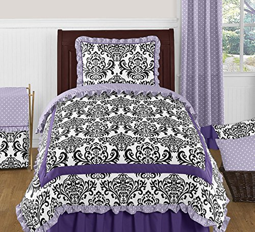 Sweet Jojo Designs Sloane Luxury Lavender Purple White Polka Dot and Damask 4 Piece Girls Twin Bedding Set (Black And Purple Damask Bedding)