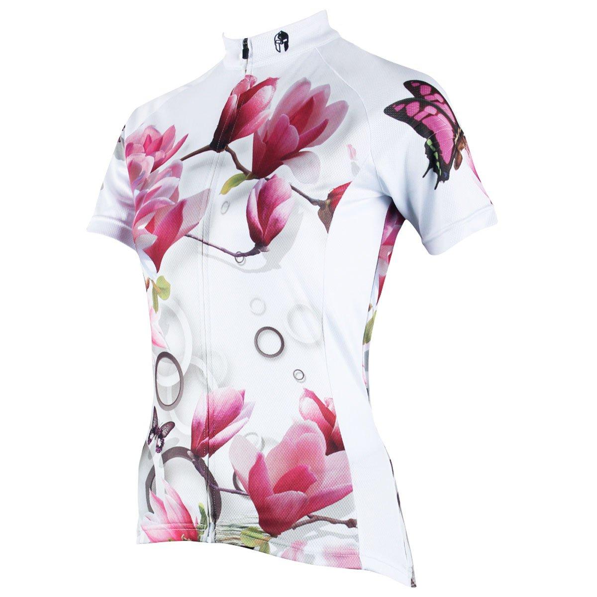 4801f4116 Amazon.com  ILPALADINO Women s Cycling Jersey Short Sleeve Biking Shirts  Flowers Butterflies  Clothing