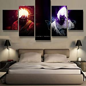 HOPE003 Canvas Painting 5 Framed 5 Piece Canvas Art Naruto VS Sasuke Anime Cuadros Decoracion Paintings on Canvas Wall Art for Home Decorations Wall Decor