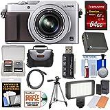 Panasonic Lumix DMC-LX100 4K Wi-Fi Digital Camera (Silver) 64GB Card + Case + Video Light & Flash Set + Battery + Tripod + Kit