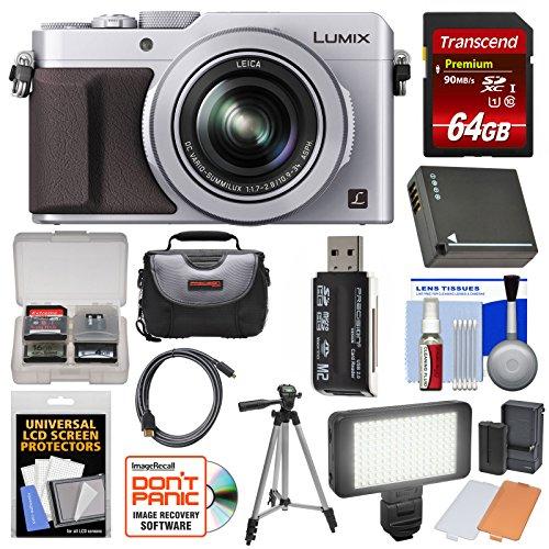 Panasonic Lumix DMC-LX100 4K Wi-Fi Digital Camera (Silver) with 64GB Card + Case + Video Light & Flash Set + Battery + Tripod + Kit