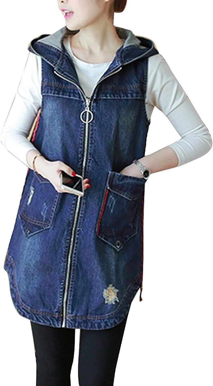 HaiDean Jeansmantel Damen Lang Vintage Mode Mit Kapuze Jeansweste Fr/ühling Herbst Jungen Chic /Ärmellos Mit Rei/ßverschluss Locker Casual Elegante Denim Weste Jeansjacken