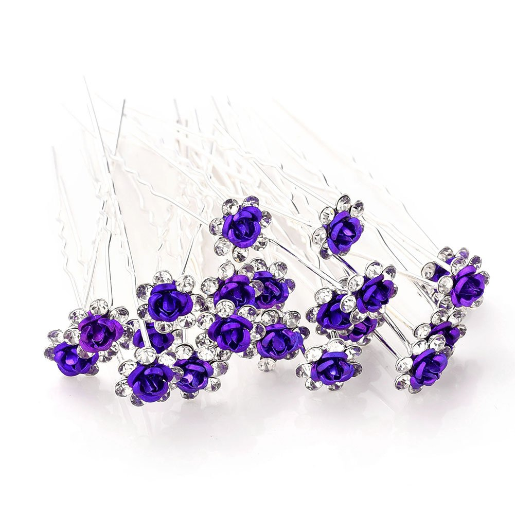 20 Pcs FLOWER Amethyst //Purple Diamante Wedding Bridal Prom Parties Hair Pins