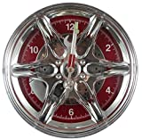 Cheap CHROME SPORTS WHEEL DECORATIVE WALL CLOCK,SPOKES,CALIPER,ROTOR,TOOL SHAPED HANDS