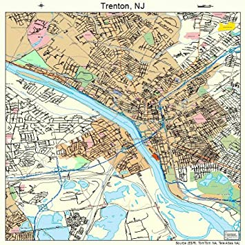 Amazoncom Large Street Road Map of Trenton New Jersey NJ
