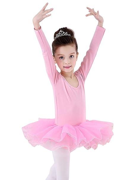 Happy Cherry - Traje de Danza Ballet para Niñas Vestido Falda Tutú Maillot de Gimnasia Leotarto Clásico Corto con Manga Larga con Calcetines-Negro ...