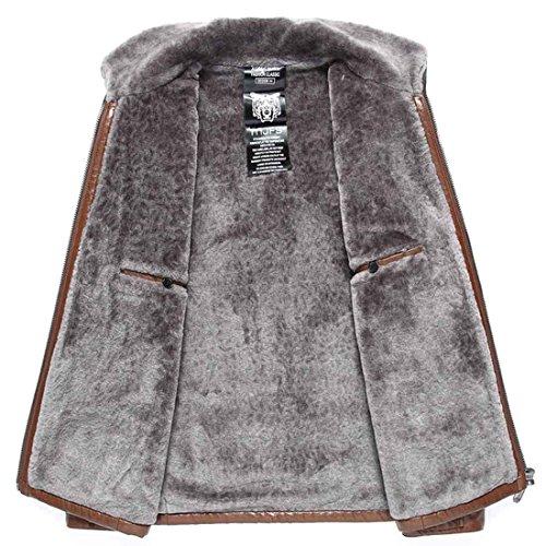 hombres negocios lana de la más 185 de invierno de chaqueta de Chaqueta de la el de PU imitación cuero xxl los tamaño de de chaqueta brown Chaqueta d6Y1CqwT