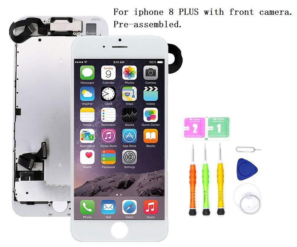 Screen Replacement Compatible with iPhone 8 Plus Full Assembly - LCD 3D Touch Display Digitizer with Front Camera, Ear Speaker and Sensors, Fit Compatible with All iPhone 8 Plus (White) by SDYXJ