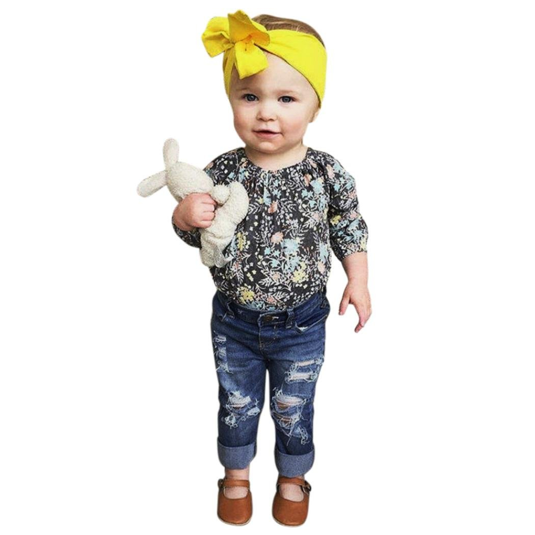 806e968705ca Amazon.com  FEITONG 2Pcs Toddler Kids Baby Girls Floral Tops+Denim ...