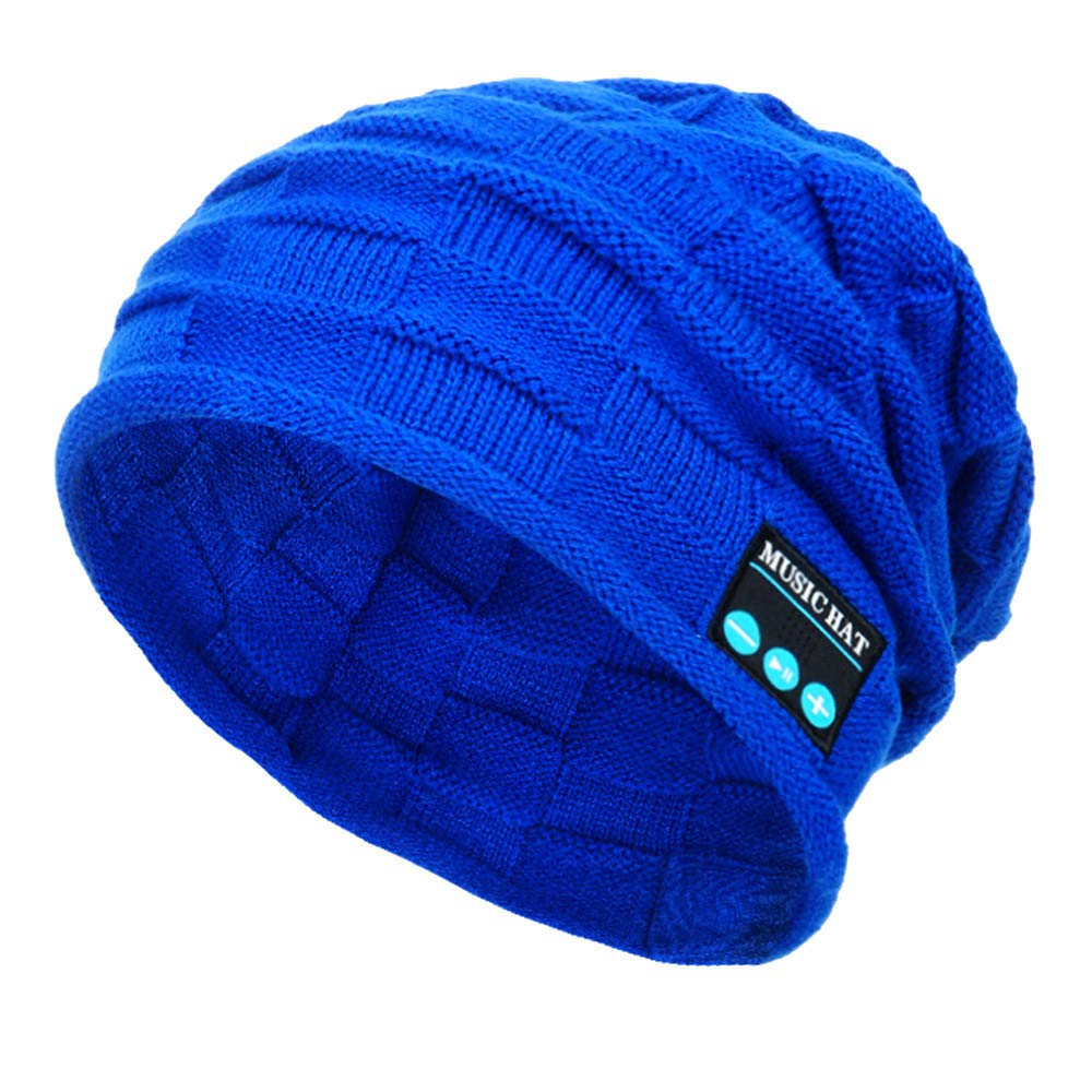PASATO New Winter Unisex Bluetooth Wireless Smart Beanie Keep Warm Windproof Hat Handsfree Music Speaker (Blue,Free Size)