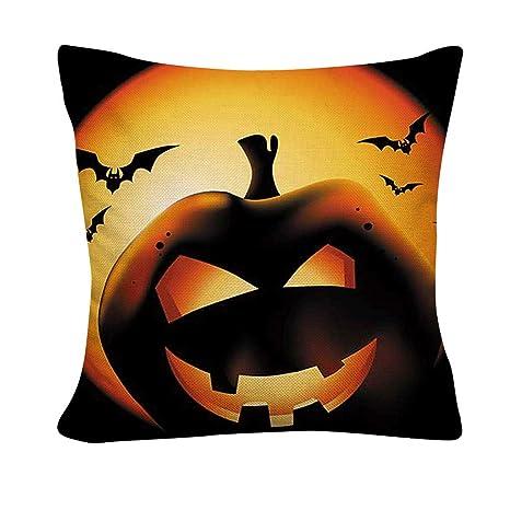 Loolik Funda de Cojín con Diseño de Halloween Lino, Cuadrada ...
