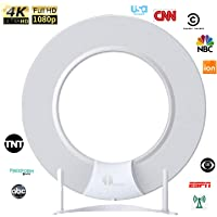 1byone HDTV Antenna [2019 Upgraded Version] Digital Amplified Indoor TV Antenna, Amplifier Signal Booster Support 4K 1080P UHF VHF Freeview Life Local Channels All Type Television