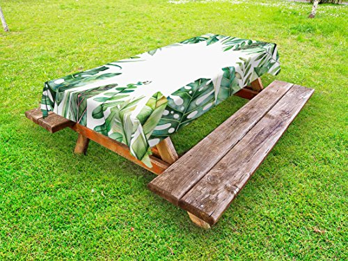 Ambesonne Plant Outdoor Tablecloth, Interesting Jungle Themed Picture with Leaves and an Opening to the Sky Exotic Art, Decorative Washable Picnic Table Cloth, 58 X 120 Inches, Fern Green by Ambesonne