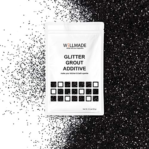 Glitter Grout Tile Additive 150g/5.3oz Glitter for Wall/Floor Tile Grout-DIY Home Wet Room Bathroom Kitchen Sparkle, Add/Mix with Epoxy Resin or Cement Based Grout (150g/5.3oz, Black) by Wellmade (Image #5)