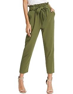 38201b663d GRACE KARIN Women Bow Tie High Waist Pencil Cropped Pant Slim Fit Casual  Trouser