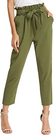 GRACE KARIN Women's Pants Trouser Slim Casual Cropped Paper Bag Waist Pants Pockets
