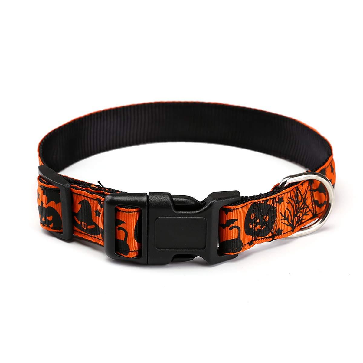 Dark orange M Dark orange M Adorrable Dog Collar for Halloween Adjustable Collar Cover for Pet Collars with Decoration,Dark orange,Neck 15.7 -19.7 ,45lb