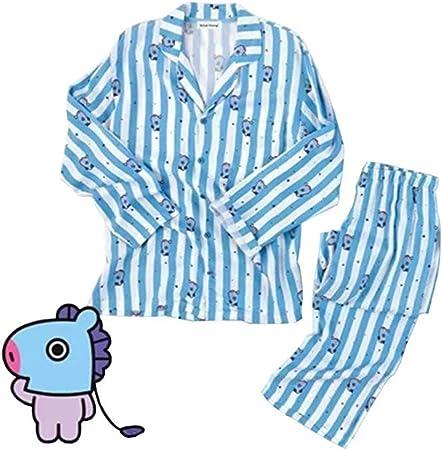 GFEIW BT21 Juego de Pijamas, KPOP Home para BTS Bangtan Boys Sleepwear BT21 Cartoon v Suga Same Harajuku Pijamas de Manga Larga Camisa Nighty para ...